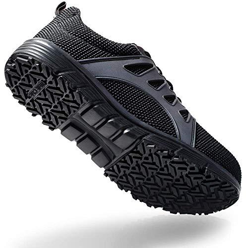 Walkchic Work Steel Toe Shoes Men's Slip Resistant Lightweight Breathable Safety Construction Boot(10,Black)