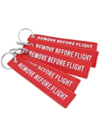 DayCount® Pack of 5 Embroidered Key Chain Remove Before Flight Letters Key Tags Luggage Tag for Bag Hanging Decor