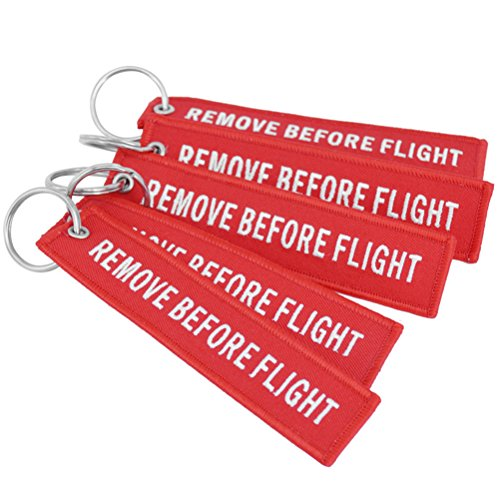 DayCount Pack of 5 Embroidered Key Chain Remove Before Flight Letters Key Tags Luggage Tag for Bag Hanging Decor (Red)