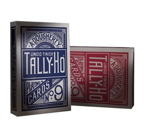 Fan Back Finish (2 DECKS OF TALLY HO No 9 ORIGINAL FAN BACK PLAYING CARDS RED AND BLUE)