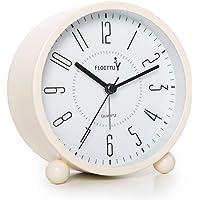 "4"" Super Silent Alarm Clock,FLOITTUY Beep Wake Round Alarm Clock with Night Light,Battery Operated,Easy Set,Simple…"