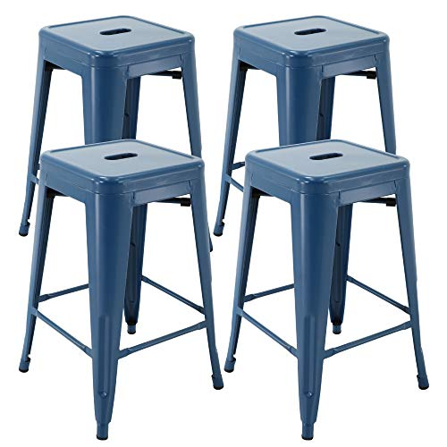 """Vogue Furniture Direct 24"""" Barstools Backless Metal Barstool Indoor-Oudoor Counter Height Stool with Square Seat (4, Indigo Blue)"""