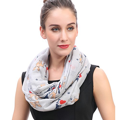 Lina & Lily I Love Chihuahua Dog Print Infinity Loop Scarf for Women (Light Grey)