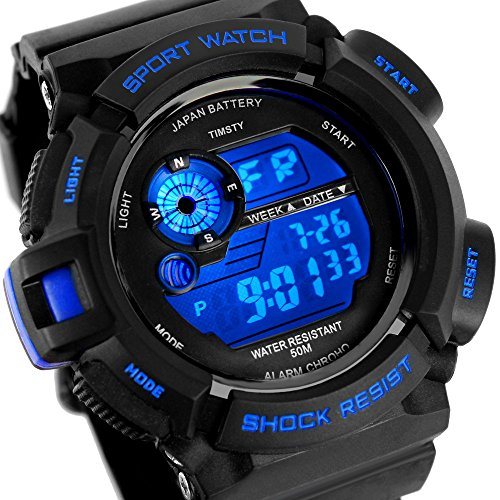 Timsty Electronic Sports Watch with LED Backlight, Water Resistant Quartz Digital Watches for Boys