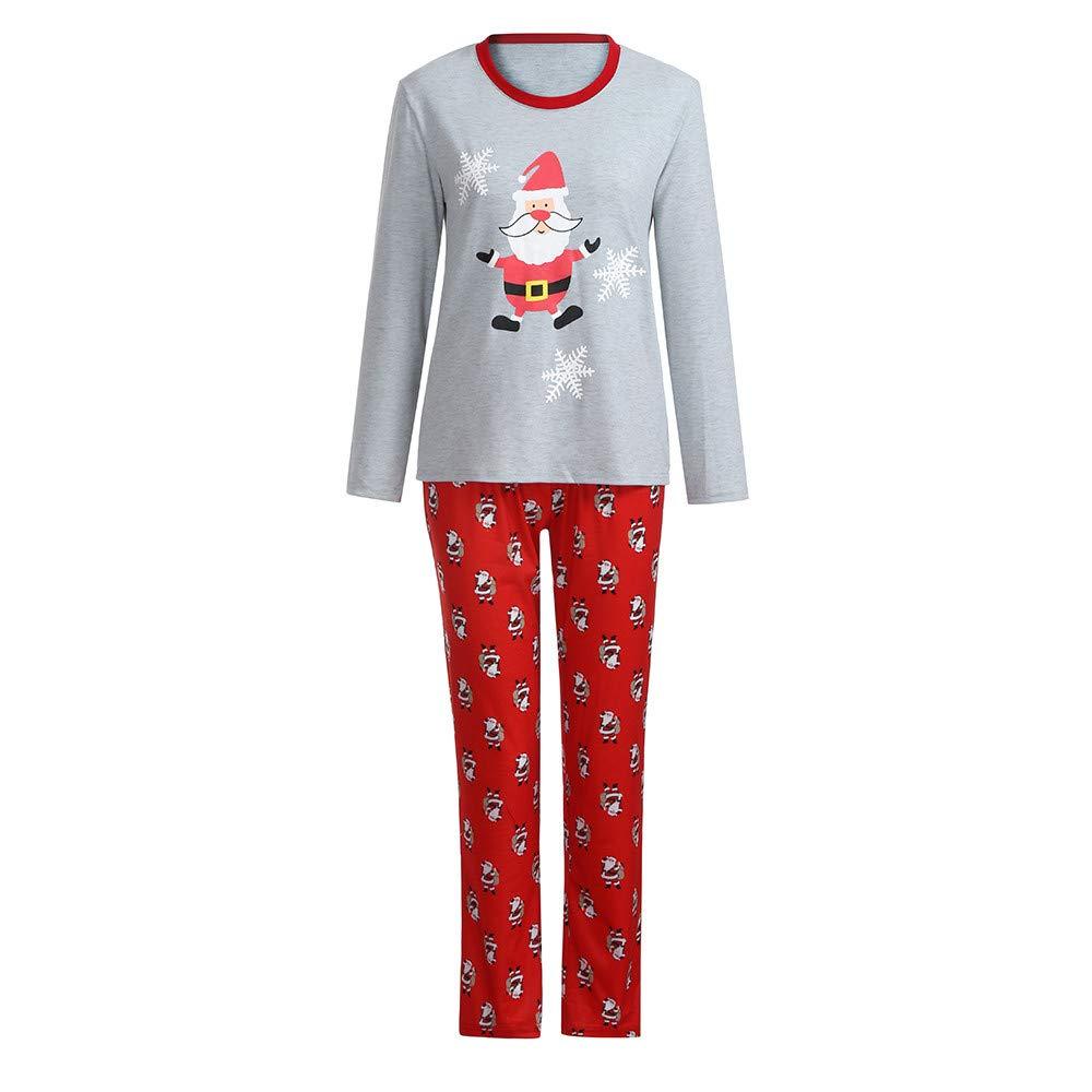 beautyjourney Famiglia Pigiami Natale Pigiama Bambina Natale Maniche Lunghe Pigiama Donna Ragazze Uomo Due Pezzi Natale Camicie da Notte Invernali - Famiglia Pigiama Natale Camicia Pantaloni