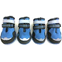 Xanday Breathable Dog Boots, Mesh Dog Shoes, Paw Protectors with Reflective and Adjustable Straps and Wear-Resisting Soles,4pcs