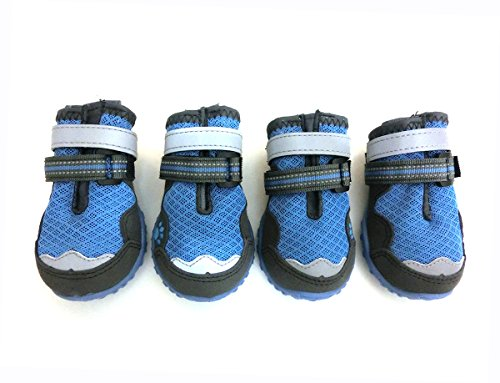 - Xanday Breathable Dog Boots, Mesh Dog Shoes, Paw Protectors with Reflective and Adjustable Straps and Wear-Resisting Soles,4pcs (3, Blue)