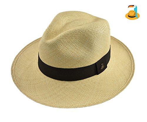 (Original Panama Hat - Natural Classic Fedora - Black Band - Toquilla Straw - Handmade in Ecuador (Large | 58cm - 59cm))