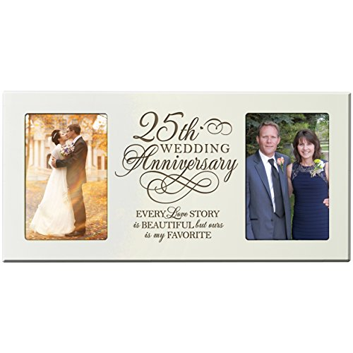 25th Anniversary Gift for Couple Silver 25 Year Wedding Picture Frame Our 25th Wedding Anniversary Every Love Story Is Beautiful but Our Is My Favorite Picture Frames Holds 2-4x6 Photos ()