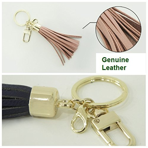 Leather Tassel Charm Women Handbag Wallet Accessories Key Rings (Hot-pink) by Beautyou (Image #3)