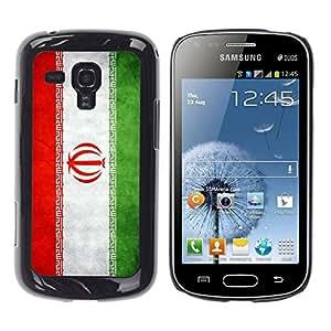 Caucho caso de Shell duro de la cubierta de accesorios de protección BY RAYDREAMMM - Samsung Galaxy S Duos S7562 - Iran Grunge Flag