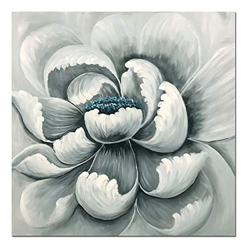 Amei Art Paintings,32X32Inch Simple Elegant Gray Slightly Blue Blossom Flower Oil Paintings Wall Art Hand-Painted on Canvas Modern Home Decor Abstract Floral Artwork Wood Inside Framed Ready to Hang -