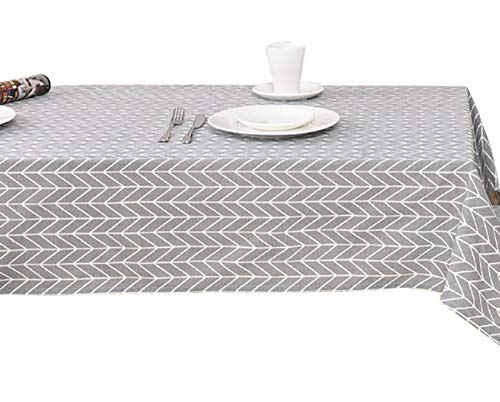 Barcelona Luxury Grey Striped Fabric Tablecloth, Polyester, No Iron, Soil Resistant Holiday Tablecloth, 55x55inch, Gray ()