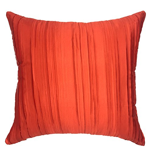 YOUR SMILE Solid Color Silk Throw Pillow Cases Decorative Cushion Cover 18x18 Inches (Orange)