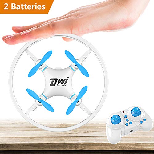 Dwi Dowellin Mini Drone Crash Proof RC Quadcopter One Key Take Off Nano Drones Toys for Kids Beginners Children Comes with Carrying Case and 2pcs Batteries, Blue