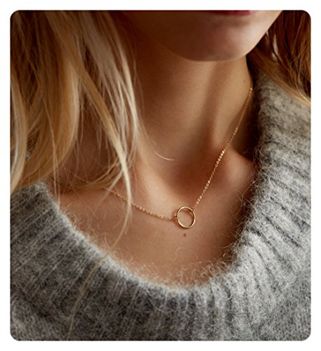 ll Dainty Choker Circle Necklace • Open Circle Chain Choker Necklace-CK1-RD-L (14k Gold Flower Necklace)