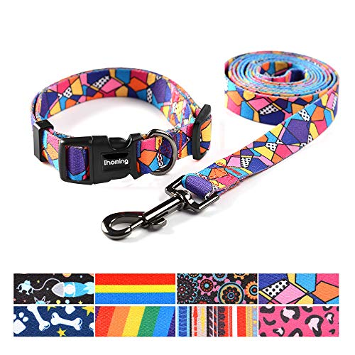 Dog Collar Pet Leash - Ihoming Pet Collar Leash Set Combo Safety Set for Daily Outdoor Walking Running Training Small Medium Large Dogs Cats