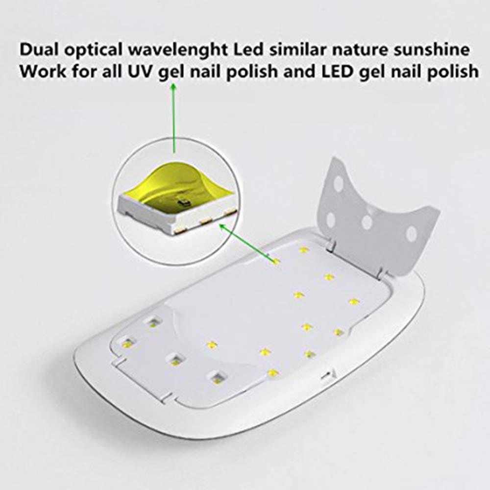 XMGJ Secadores de uñas Secador de uñas Máquina de fototerapia de uñas Nuevo UVLED Tipo de ratón de Fuente de luz Doble Lámpara de fototerapia de uñas 24W ...