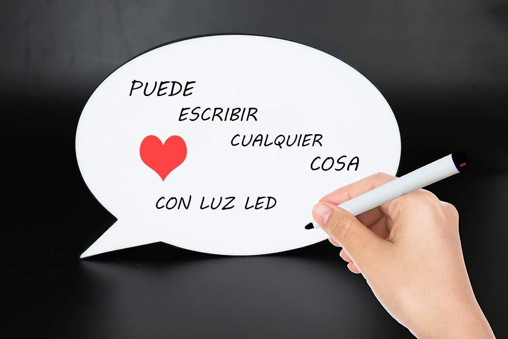 Caja de luz led con letras Escritura a mano con usb Rectangular 22 x 15 cm tablero de mensajes de la escritura de DIY Luz de la noche L/ámpara de pared de la muestra el regalo Cumplea/ños