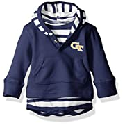 Two Feet Ahead NCAA Georgia Tech Children Unisex Stripe Hooded Creeper,12Mo,Navy
