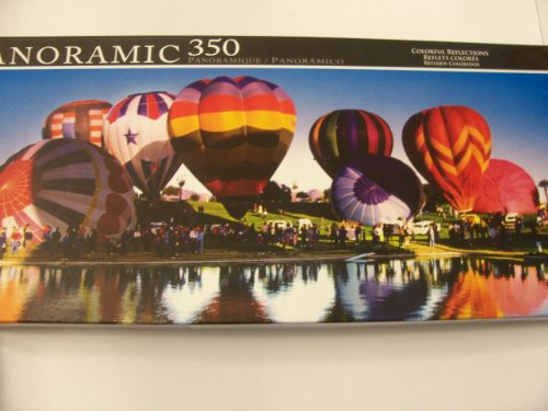 Panoramic 350 Piece Puzzle ~ Colorful Reflections (Hot Air Balloon Fesitval)