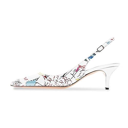 ca9719c765888 Onlymaker Women's Pointed Toe Slingback Ankle Strap Kitten Heels Stiletto  Pumps