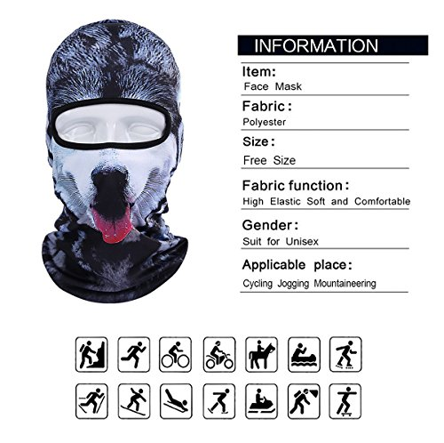 Betwoo Polyester Animal Balaclava Hood Full Face Mask Hats for Motorcycle/Cycling (Dog 1) by Betwoo (Image #6)