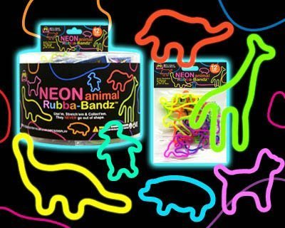(Rubba Bandz Shaped Rubber Bands Bracelets 12Pack Neon Animal Shapes)