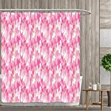 Pink and Tan Shower Curtain Anniutwo Geometric Shower Curtains Mildew Resistant Surreal Expressionist Art Vibrant Colors Vintage Ornamental Design Abstract Bathroom Decor Sets with Hooks 36