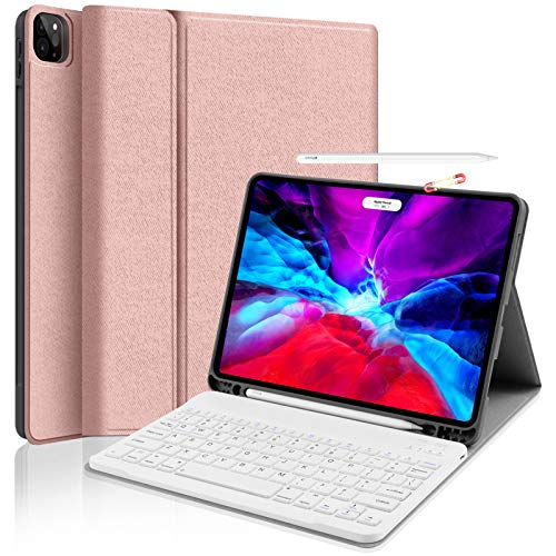 iPad Pro 11 Keyboard Case 2020 - JUQITECH Smart Case with Wireless Keyboard - Support Pencil Holder Charging Holder Detachable Keyboard Stand Magnetic Cover for iPad Pro 11 2nd Generation, Rose Gold