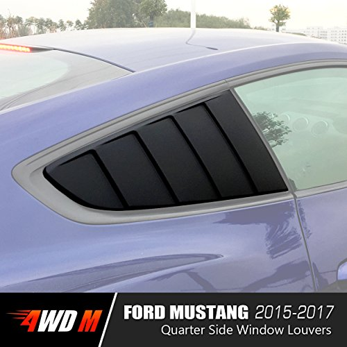 [4WDMUSCLE Matte Black GT 5 Slot Closed Quarter Side Window Scoop Louvers for Ford Mustang 2015 2016 2017] (Ford Mustang Side Scoop)