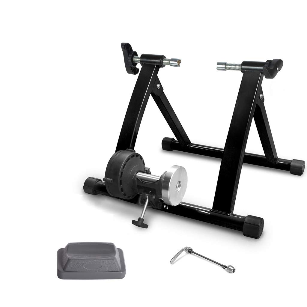 Bike Trainer Stand, Quiet Noise Reduction Magnetic Bicycle Stationary Stand Fits for a 24''-28'' or 700c Wheel, with Quick Release and Front Wheel Block (Without Resistance Adjustment Line)