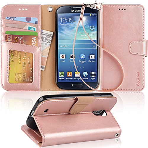 S4 Case, Arae Samsung Galaxy S4 wallet case, [Wrist Strap] Flip Folio [Kickstand Feature] PU leather wallet case with ID&Credit Card Pockets For Samsung Galaxy S4 I9500 (rosegold)