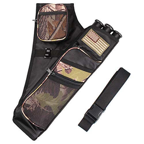 Kratarc 3-Tubes Hip Quiver Waist Hanged Camouflage Arrow Archery Carry Bag with Pockets Adjustable Belt (Camo)