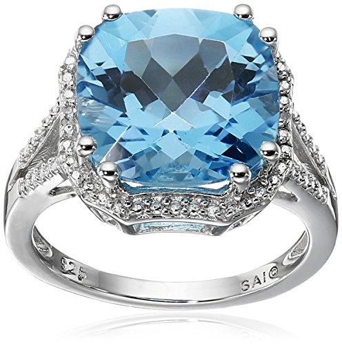 Sterling Silver Swiss Blue Topaz and Diamond-Accented Ring, Size 6 (Blue Ring Diamond Accented)