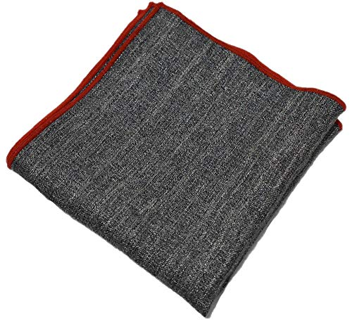 Flairs New York Gentleman's Essentials Weekend Casual Pocket Square Handkerchief (Charcoal Grey/Red)