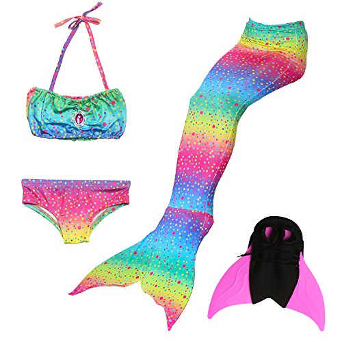 - Das beste Girls Mermaid Tail Swimsuit with Monofin Girl's Mermaid Tail for Swimming,Colorful Swimmable Costume Cosplay Princess Swimwear Bikini Set Bathing Suit Set with Mono Fin Four Pcs