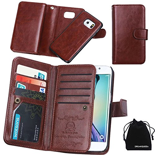 Price comparison product image DRUnKQUEEn For Samsung Galaxy S6 Edge Plus, Wallet Leather Flip Card Holder Case, 2 in 1 Detachable Magnetic Back Cover for Galaxy S6 Edge+ G9280 (NOT for S6/S6edge)