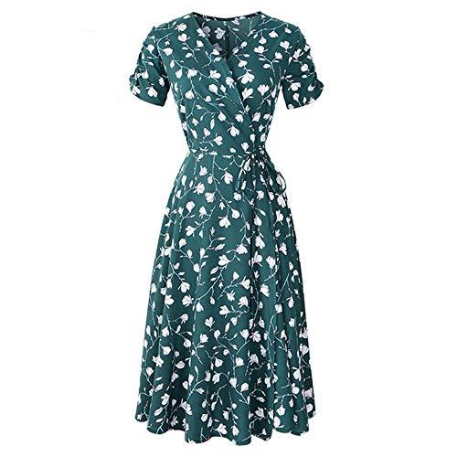 (RCTO New Summer Print Floral Dress Women V Neck Short Sleeves Chiffon Dresses Female Wrap Long Dress Green)