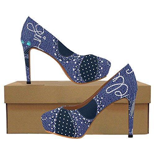 InterestPrint flower jeans Womens Sexy High Heels Pump Shoes Beautiful Butterfly on Jeans ktI1usQKoe