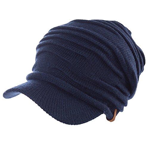 37% Wool Knit Visor Beanie Mens Winter Hat Brim Cuff Newsboy Jeep Cap Cold Weather Hat 2-Layer Navy SIGGI