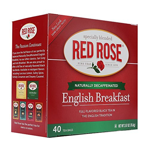 Red Rose Decaf English Breakfast Tea 40 ct (Case of 6 boxes) (40 Roses)