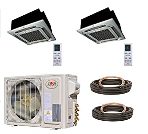 YMGI Dual Zone - 24000 BTU (12K +12K) Ceiling Mounted Mini Split Air Conditioner with Heat Pump for Home, Office