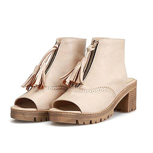 Fashion Heel Womens Chunky Heel Peep Toe Fringe Slingback Sandal Apricot EZUkFSnyR