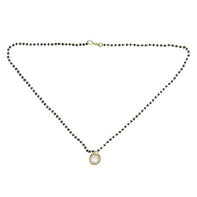 Accessher Gold Brass Single Kundan Short Mangalsutra For Women Girls