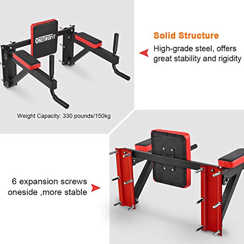OneTwoFit Multifunctional Wall Mounted Pull Up Bar Power Tower Set Chin Up Station Home Gym Workout Strength Training Equipment Fitness Dip Stand Supports to 330 Lbs OT076 by ONETWOFIT (Image #6)