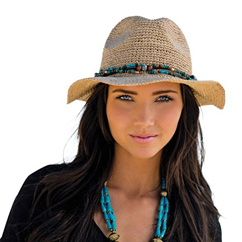 Womens Fedora Bora Bora Womens Sun, Beach Hat (Natural) (Straw Hat Suede)