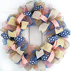 Everyday Wreath | Birthday Gift for Her | Year Round Wreath | Coral Navy Blue Jute Burlap 47