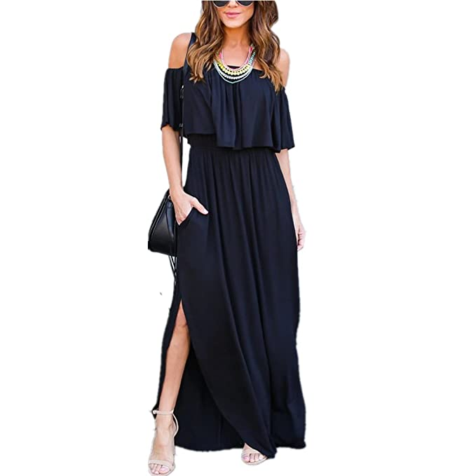 Vestido de mujer, Lananas Mujeres 2018 Verano Fuera del hombro Manga corta Volantes Vestido bolsillos Side Split Maxi vestidos: Amazon.es: Ropa y ...