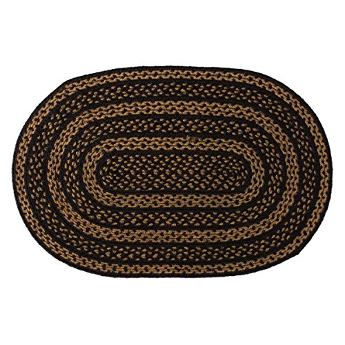 VHC Brands Classic Country Primitive Flooring - Farmhouse Jute Black Rug, 2' x (Black Oval Rug)